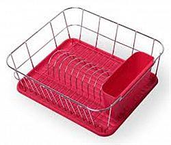 0763В Сушилка для посуды одноярусная нерж.сталь с поддоном(красная) 37*33*13,5см