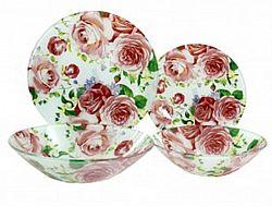 Q 078 Сервиз столовый стекло 19пр Розовые розы