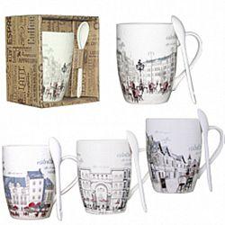 """Чашка с ложкой керамика """"Сity"""" в подар.упаковке 360мл"""