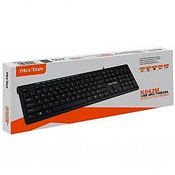 Компьютерная клавиатура проводная черная RU Ukr EN WK 842М