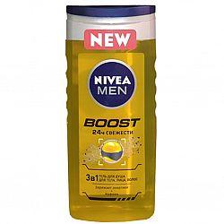 NIVEA_BATH гель 250 для_душу чоловічий BOOST 3в1 для тіла, обличчя, волосся