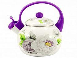 Чайник 2.2л эмалированный со свистком Zauberg Розы 2L