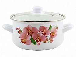 1W Кастрюля эмалированная 3,5л Zauberg Орхидея розовая