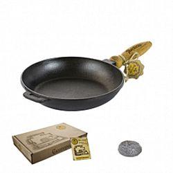 Сковородка чугунная литая с деревянной ручкой без крышки 24*4см