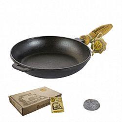 Сковородка чугунная литая с деревянной ручкой без крышки 26*4см