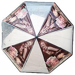 "K310M  Женский зонт Star Rain полуавтомат-трость, 8 спиц ПРОЗРАЧНЫЙ С РИСУНКОМ ""Marilyn Monroe"""