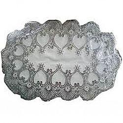 Клеенка на стол ажурная серебро односторонняя овальная 30*40см