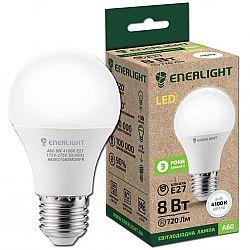 Лампа светодиодная ENERLIGHT A60 8Вт 4100К Е27,гарантия 3 года